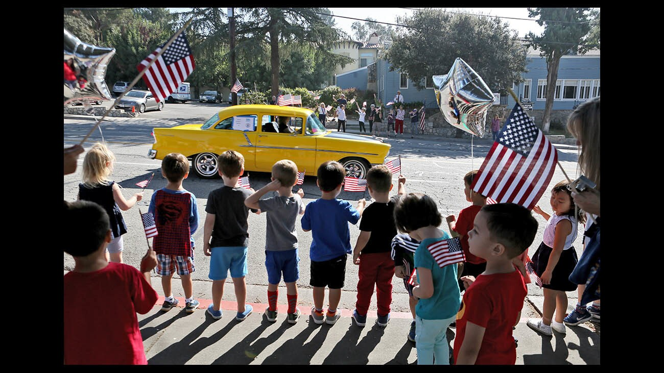 Photo Gallery: The Crescenta Valley Chamber of Commerce Remembrance Motorcade passed by local schools and fire stations