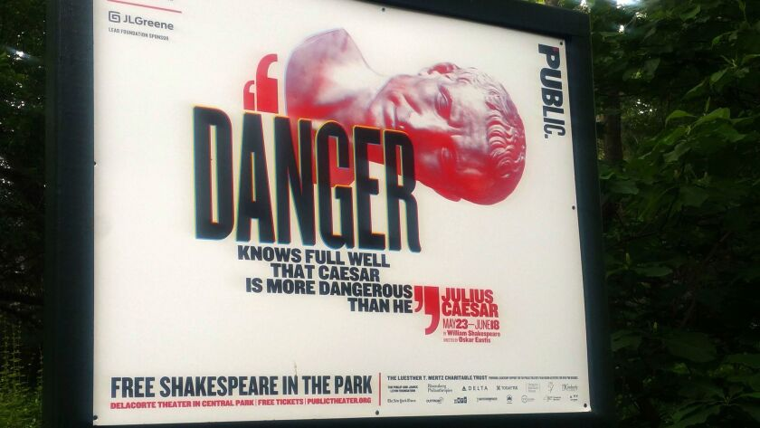 """In this June 7, 2017 photo, """"Danger knows full well that Caesar is more dangerous than he,"""" reads a"""