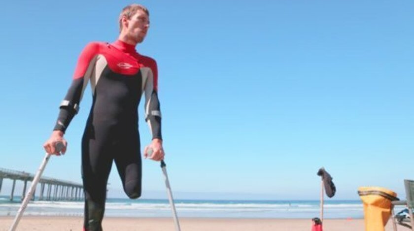 Surfer Andre Barbieri, who lost his left leg in a snowboarding accident, shares his story in the documentary, 'What the Sea Gives Me.'