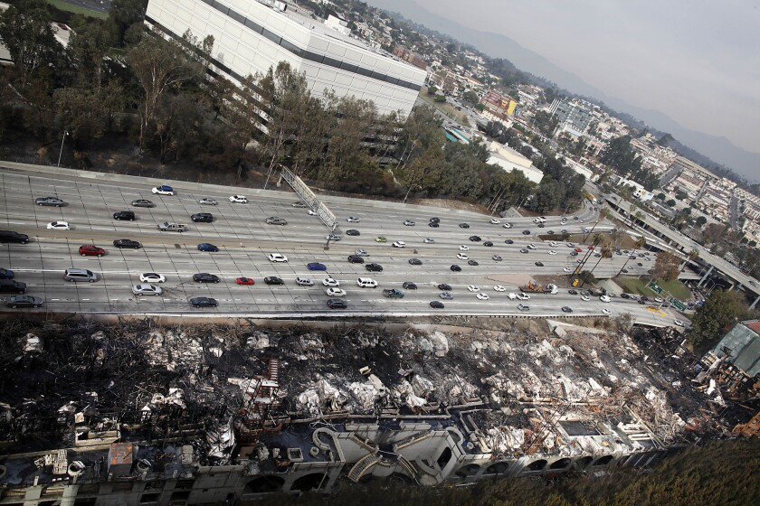A 1.3-million-square-foot wing of the Da Vinci residential complex was destroyed by a huge fire in December. It stood next to the 110 Freeway in downtown Los Angeles.
