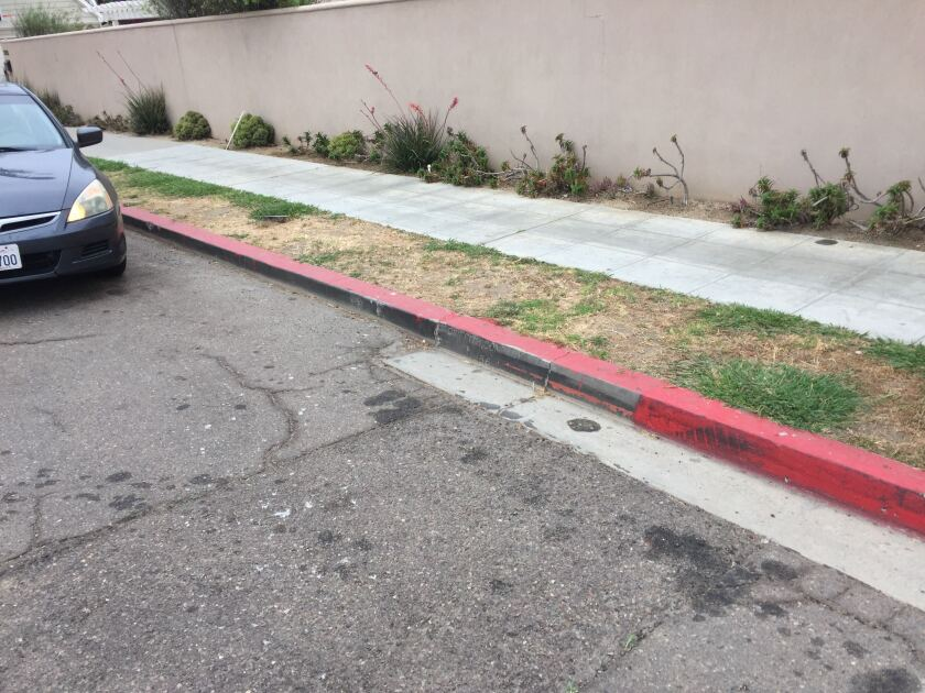 An illegally painted red curb in La Jolla Shores.