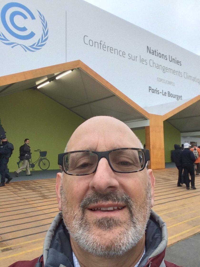 Solana Beach Deputy Mayor Peter Zahn outside the main conference center in Paris.