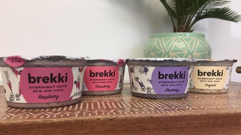 Brekki, a mix of uncooked oats, almond milk, seeds, nuts and fruit, comes in four flavors, raspberry, strawberry, blueberry and original. (Pam Kragen/Union-Tribune)