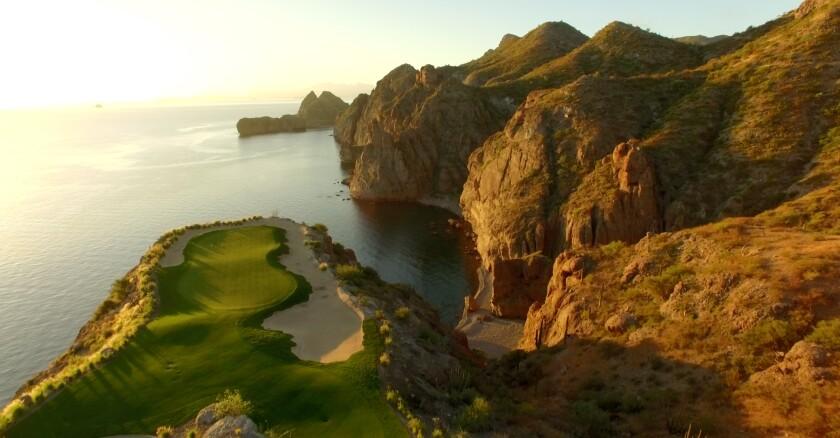 The cliff-top 17th hole at Danzante Bay, south of Loreto, Mexico.