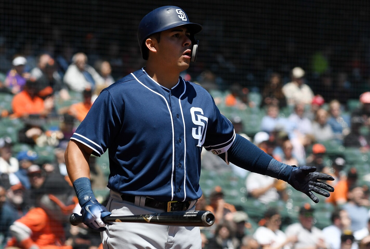 SAN FRANCISCO, CA - MAY 02: Christian Villanueva #22 of the San Diego Padres reacts to being called out on strikes against the San Francisco Giants in the top of the first inning at AT&T Park on May 2, 2018 in San Francisco, California. (Photo by Thearon W. Henderson/Getty Images) ** OUTS - ELSENT, FPG, CM - OUTS * NM, PH, VA if sourced by CT, LA or MoD **