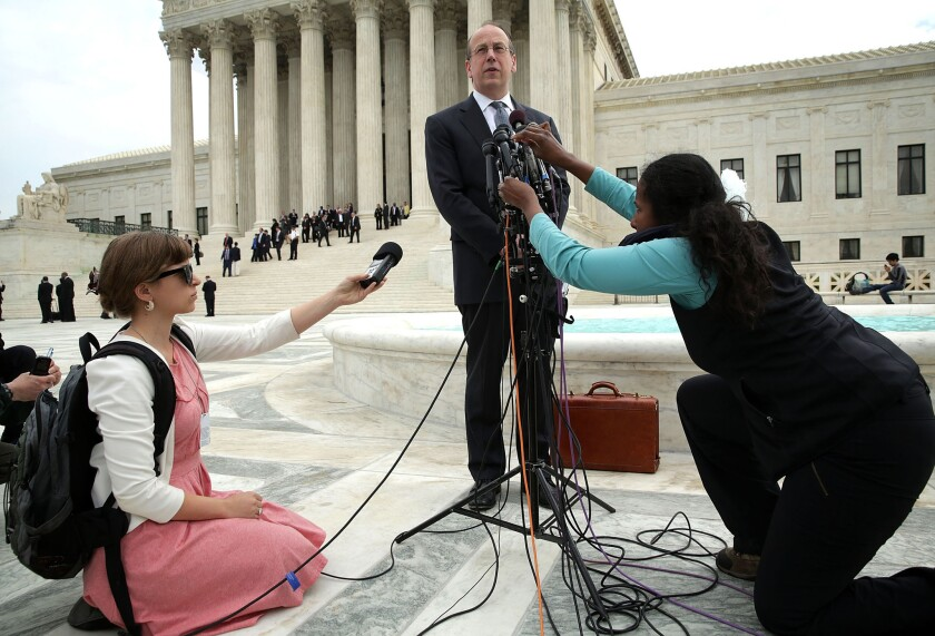 Paul Clement, the attorney for the broadcasters, speaks to members of the media in front of the U.S. Supreme Court after oral arguments April 22, 2014 in Washington, DC.