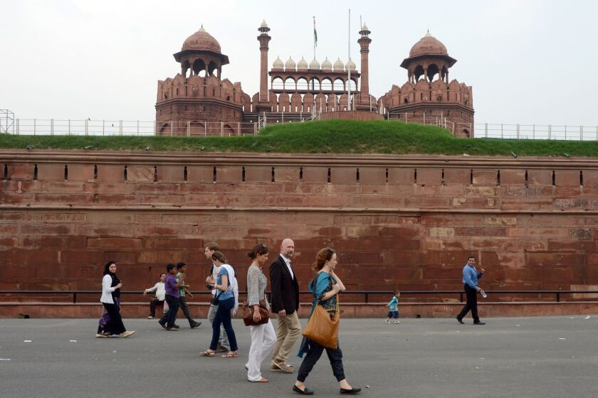 American tourists visiting the Red Fort in New Delhi (shown here) or anywhere in India may now apply for a visa online.