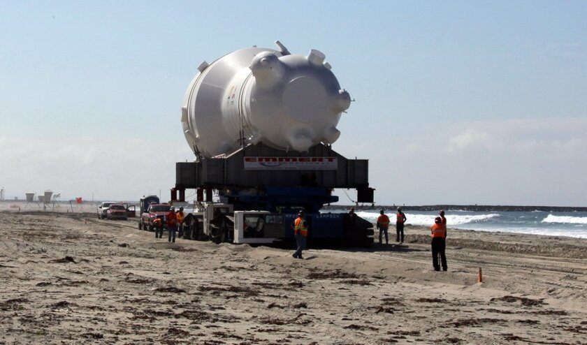 A steam generator slowly begins its trip up the coast of Camp Pendleton to the San Onofre Nuclear Generating Station.