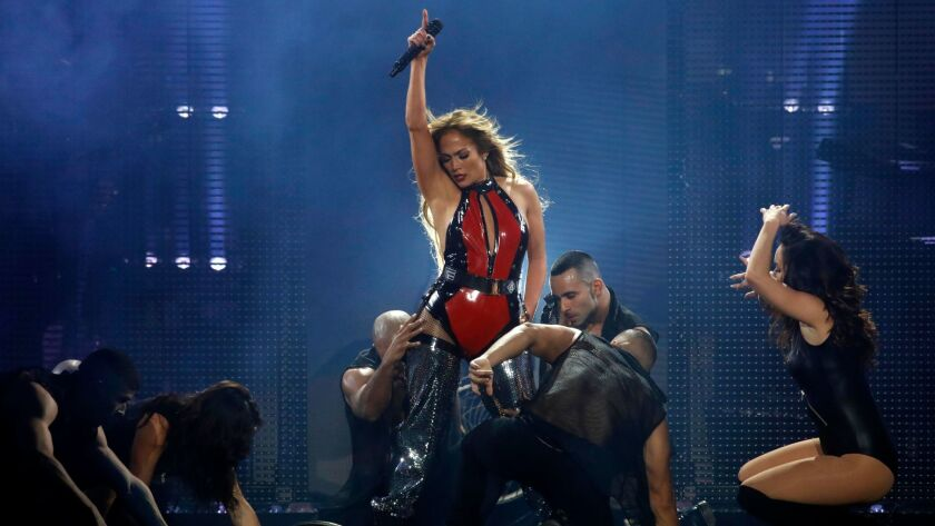 LOS ANGELES, CA - JANUARY 20, 2018 -- J Lo performs in the CALIBASH concert at Staples Center in Los