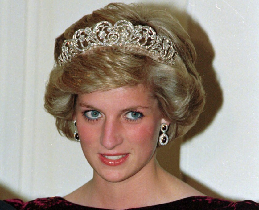 Princess Diana at a state dinner in Australia in 1985