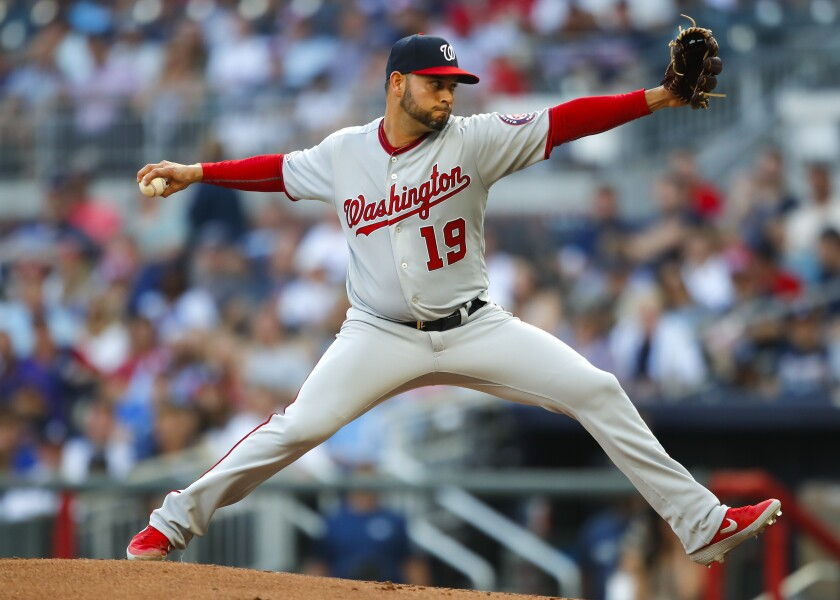 Nationals starter Anibal Sanchez delivers a pitch against the Braves during a game earlier this season.