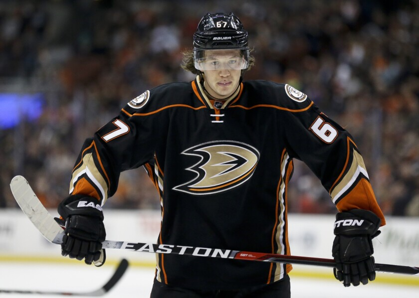 It is unclear when Ducks center Rickard Rakell, shown in a March 14 photo, will be able to play his next game.