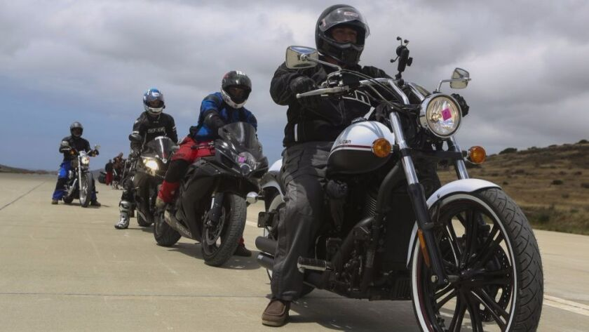 Motorcyclists from 3rd Marine Aircraft Wing take a safety course on the helicopter landing field in Camp Pendleton's San Mateo Canyon on May 20.