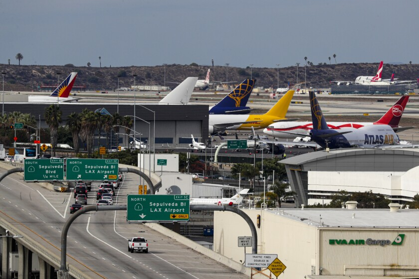 A view of the 105 Freeway leading ot Los Angeles International Airport