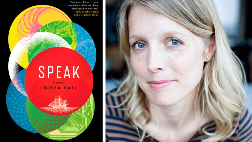 "The cover of ""Speak"" and author Louisa Hall"