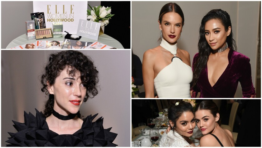 Clockwise from left: Issues of Elle magazine and a gift bag's contents are displayed; Alessandra Ambrosio and Shay Mitchell; Vanessa Hudgens and Lucy Hale; and musician St. Vincent at the 23rd annual Elle Women in Hollywood Awards at the Four Seasons Hotel in Beverly Hills.