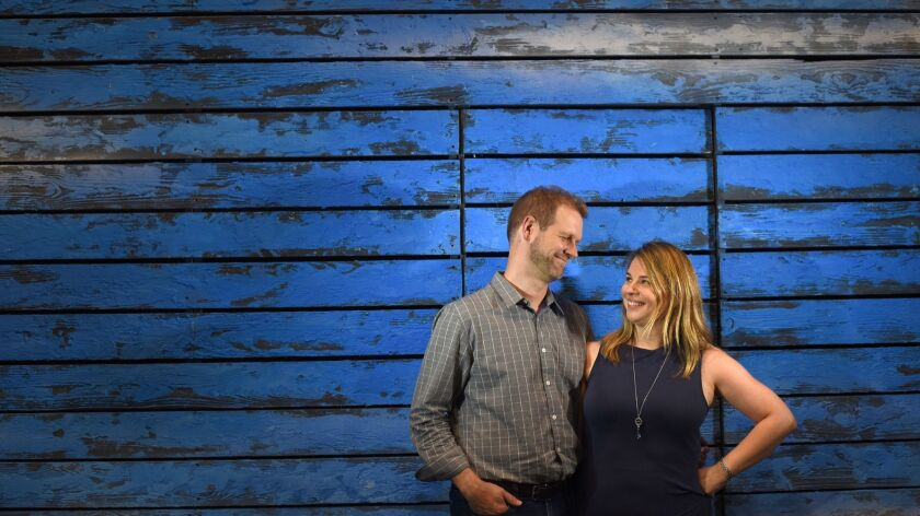 David Hein and Irene Sankoff photographed in the Gerald Schoenfeld Theater. The couple authored the show's Tony-nominated book, music and lyrics.