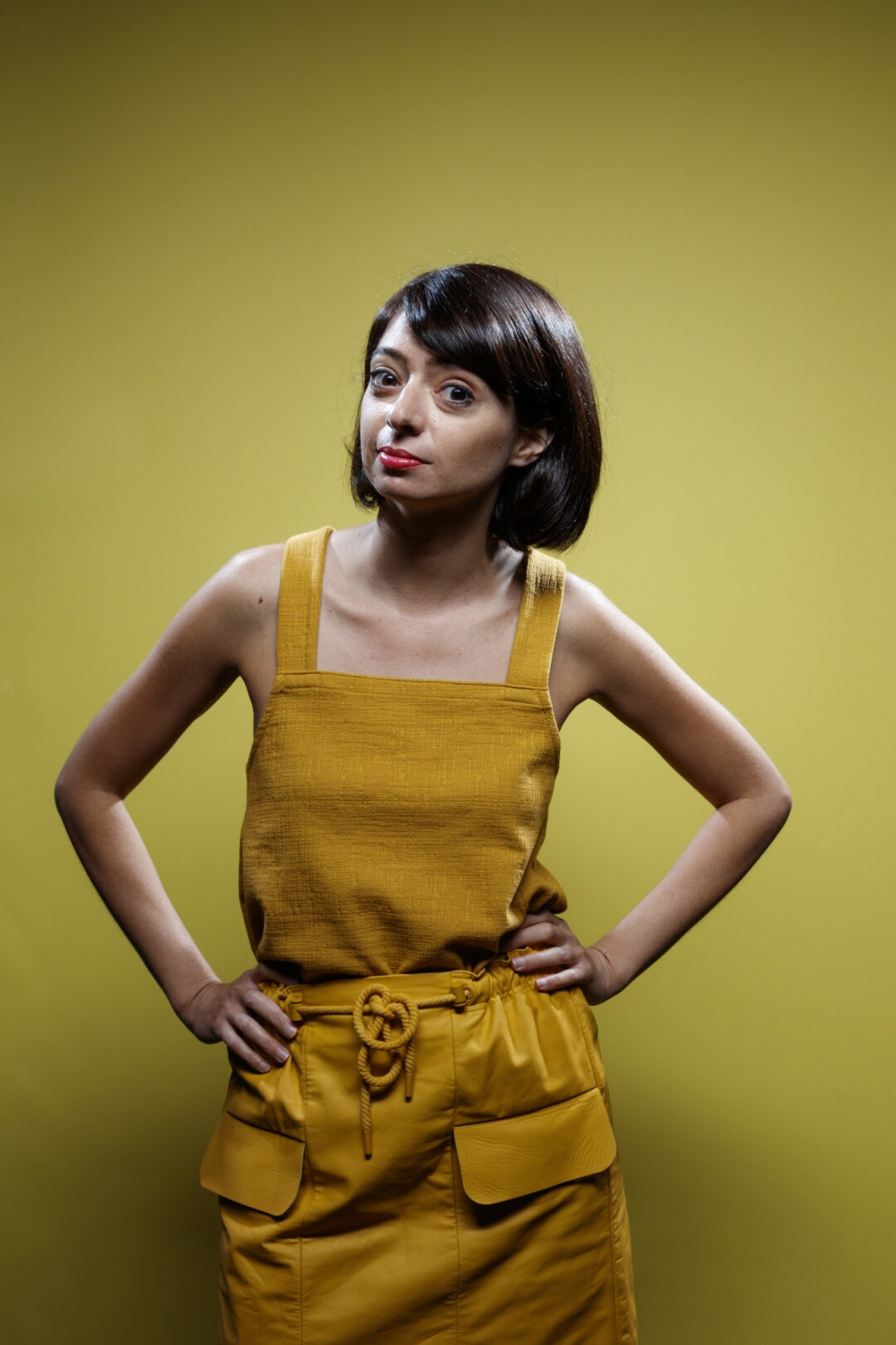 """Kate Micucci, from the television series """"DuckTales,"""" photographed in the L.A. Times photo studio at Comic-Con 2017."""