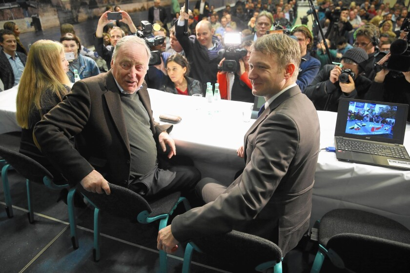Alexander Gauland, left, and Andre Poggenburg are candidates for the far-right Alternative for Germany party, which is expected to have a strong showing in Sunday's state elections.