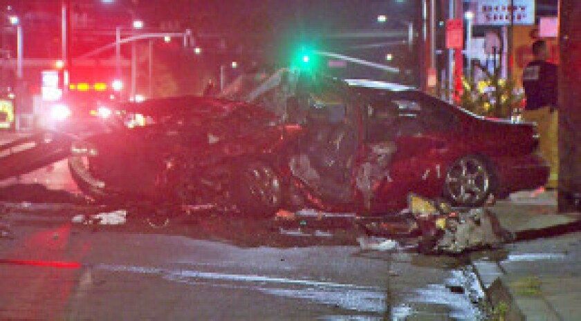 The scene from a crash in Winnetka, in which a man was killed and four others were hospitalized.