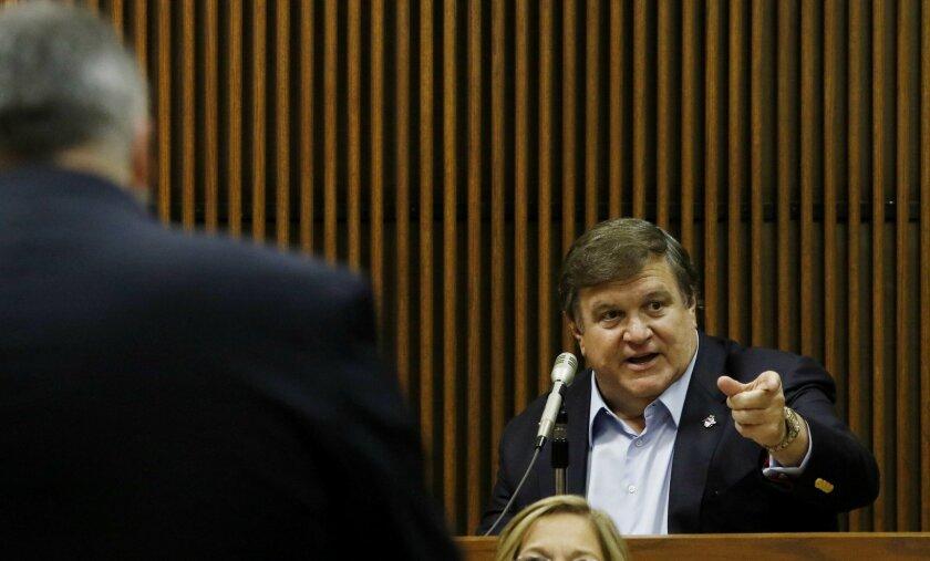 Prosecutor Matt Hart questions witness Jimmy Rane during Alabama House Speaker Mike Hubbard's trial on Thursday, June 2, 2016,  in Opelika, Ala. (Todd J. Van Emst/Opelika-Auburn News via Pool)