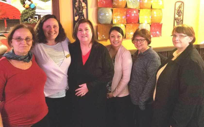 The Woman's Club of Vista GFWC hosts Night Owls meetings at 6 p.m. on the first Wednesday of each month at Thai One On restaurant, 485 S. Melrose Drive. The Night Owls members contribute to the club's projects to help various nonprofits locally and worldwide. The nearly 50 members of the nonprofit Woman's Club of Vista GFWC volunteered 10,700 hours last year. The club is slated to award $12,000 in scholarships to students at six local high school in June. From left: Club members Marilyn Rudoff, Jennifer Gehrisch, Laura White, Dolly Cooper, Judy Pantazo and Vanessa Clark. Gehrisch and White were recently welcomed as new members. Visit womansclubofvista.org. wnload.jpg