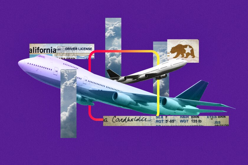 A photo collage of images of an airplane and driver's license