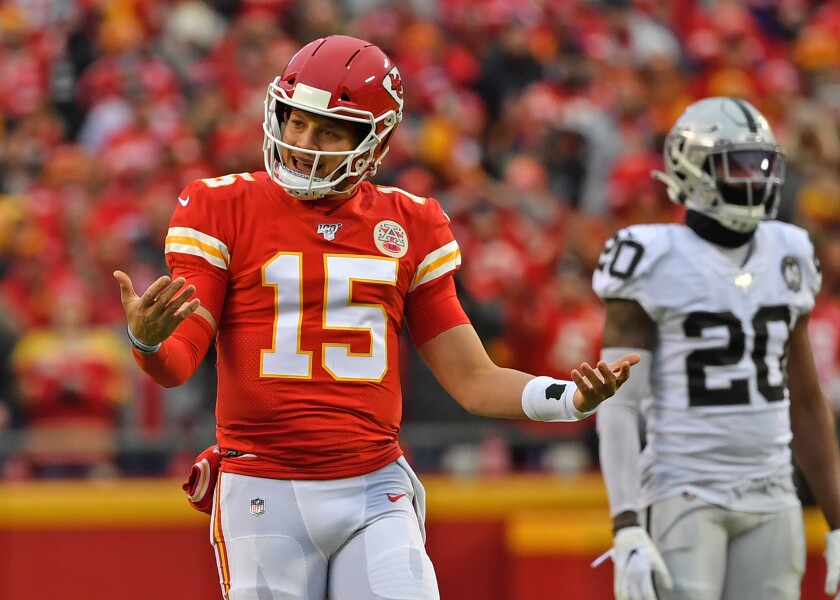 Kansas City Chiefs quarterback Patrick Mahomes reacts after a play against the Oakland Raiders on Sunday.