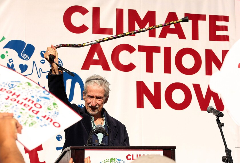 Tom Hayden speaking on Dec. 3, 2015, at a rally by environmentalists at Pershing Square in Los Angeles.