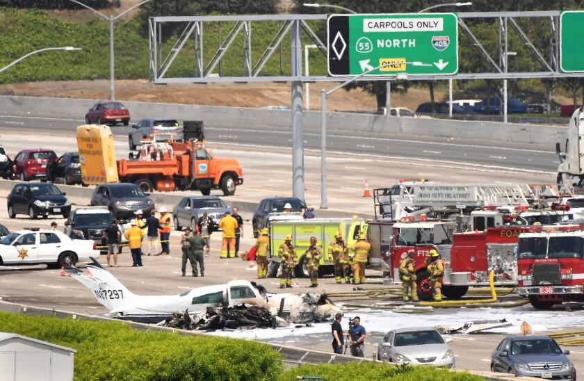 Small plane crash on the 405 Freeway