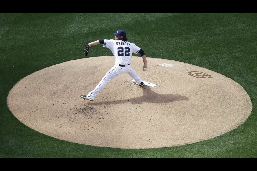 Padres starting pitcher Ian Kennedy throws the very first pitch at Pecto Park of the 2015 season.
