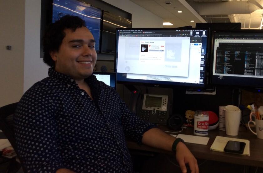 Daniel Wheaton in the Union-Tribune newsroom.