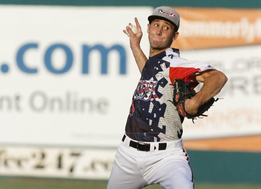 Padres pitching prospect Justin Hancock.