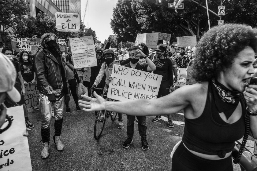 """Untitled,"" 2020, by Adrian White, shows protesters at a Black Lives Matter rally."