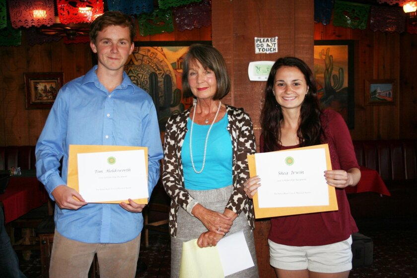 Scholarship recipients Tim Holdsworth and Shea Irwin with Corresponding Secretary Cindi Clemons.