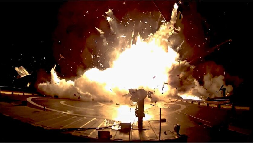 This image from a video posted on YouTube by SpaceX shows one of the unsuccessful landings of the company's orbital rocket boosters.