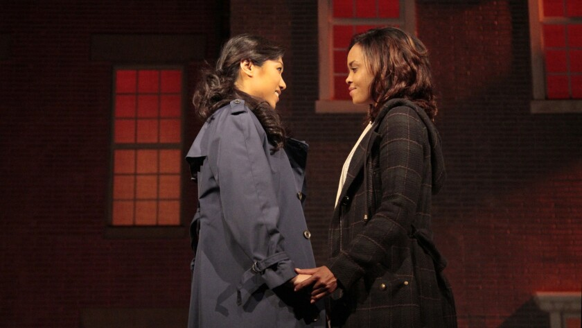 "Angela Lin, left, and Sharon Leal in ""Stop Kiss."""