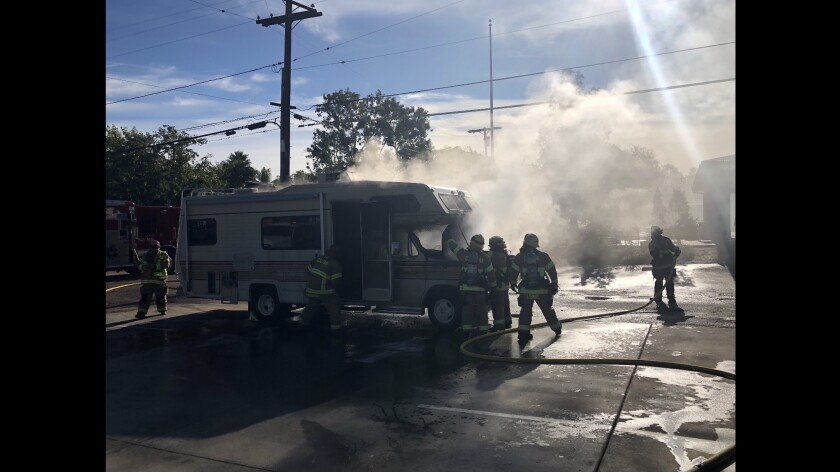 Firefighters put out a fire in a RV in Ramona Thursday morning. The vehicle was a total loss, a Cal Fire spokesman said.