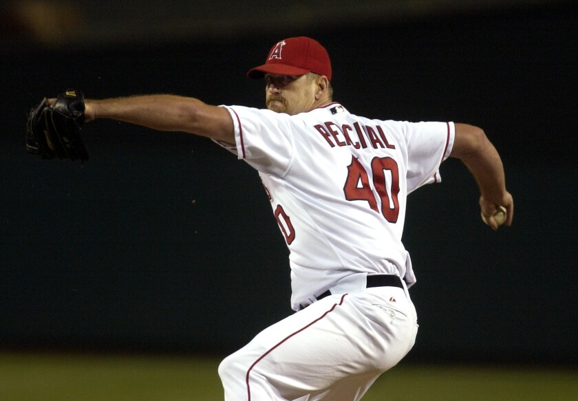 Troy Percival pitches while a member of the Angels.
