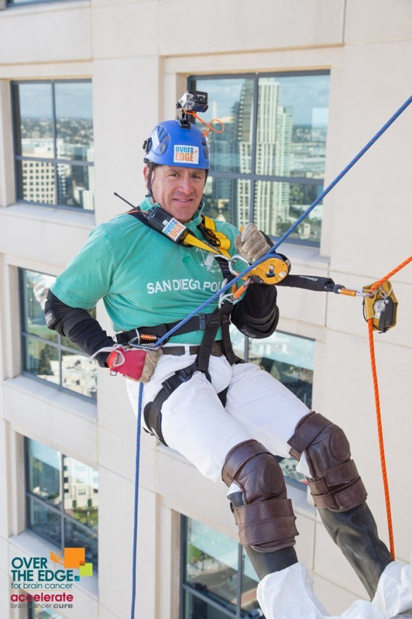 Carlos Gutierrez takes part in the 'Over the Edge for Brain Cancer' event at the Manchester Grand Hyatt in downtown San Diego to help raises funds for the fight against brain cancer.