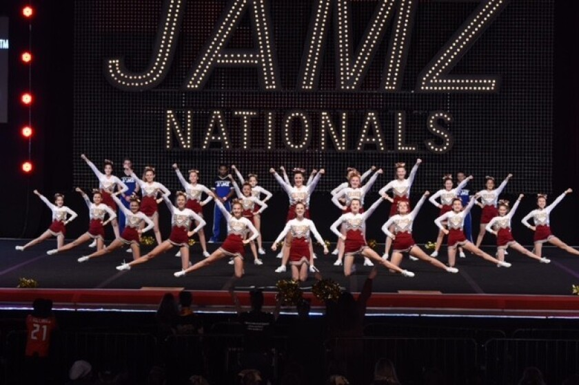 The Torrey Pines Falcons JV cheerleading team at the JAMZ Nationals.