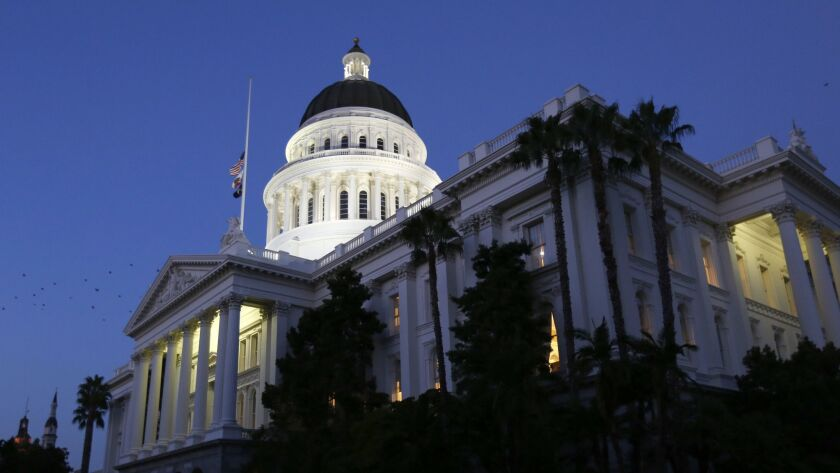 The lights of the Capitol dome shine in Sacramento. California voters elected nine new constitutional officers this year, including five statewide positions and four members of the Board of Equalization.