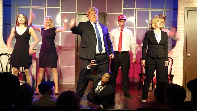 "It's like watching the news, only less absurd: The ensemble of the Second City Hollywood's new musical, ""In Trump We Trust."""