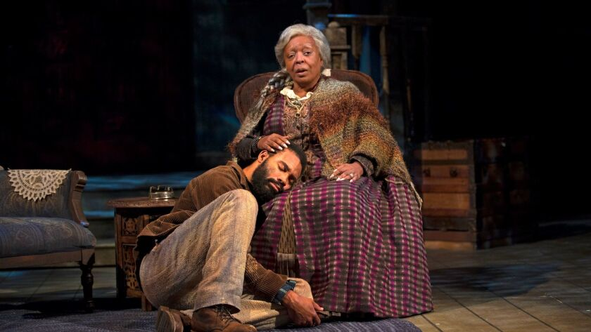 "Preston Butler III and L. Scott Caldwell in South Coast Repertory's 2017 production of August Wilson's ""Gem of the Ocean."""