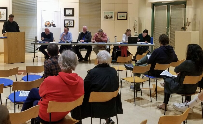 Community members gather at the Peninsula Community Planning Board meeting Thursday, Feb. 20 at the Point Loma Library.