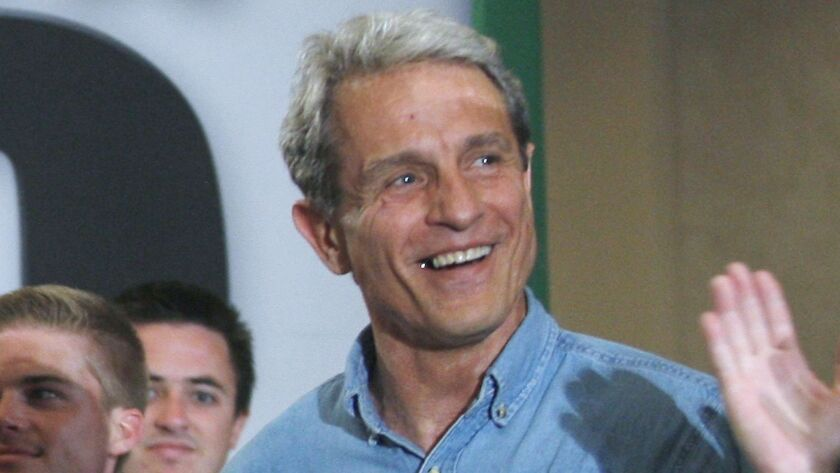 Ed Buck is seen in 2010 at a campaign stop by then-California gubernatorial candidate Meg Whitman.