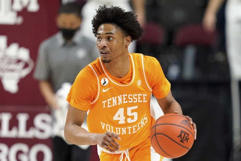 Tennessee guard Keon Johnson brings the ball up against Texas A&M.