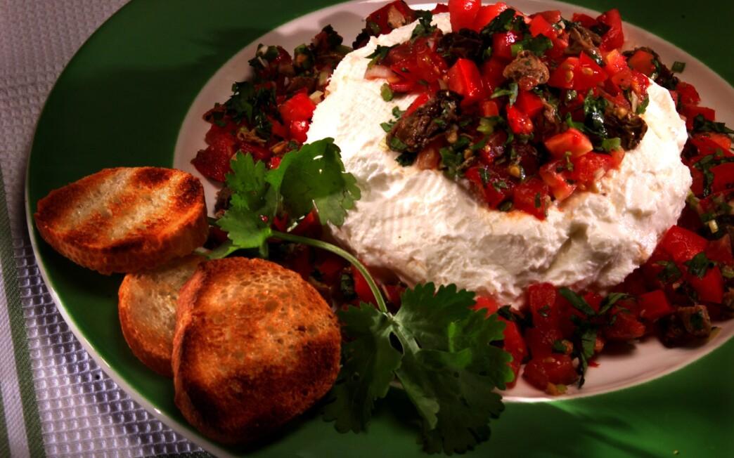 Yogurt cheese with salsa