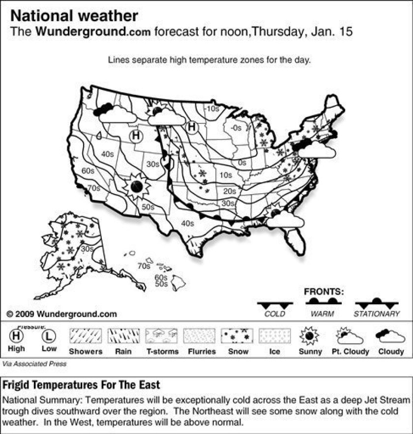 The Weather Underground forecast for Thursday, Jan. 15, 2009, shows temperatures will be exceptionally cold across the East as a deep Jet Stream trough dives southward over the region.  The Northeast will see some snow along with the cold weather.  In the West, temperatures will be above normal. (A