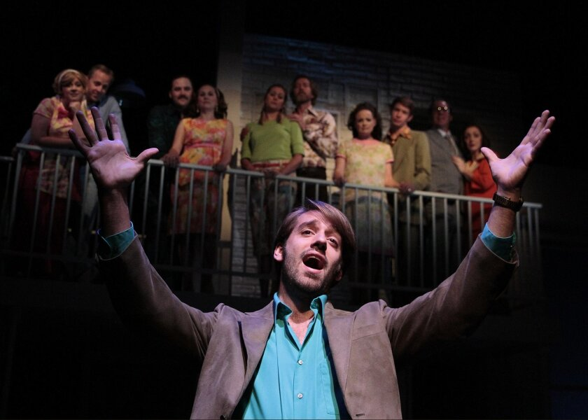 """Andrew Wells Ryder and the cast of Cygnet Theatre's """"Company."""""""